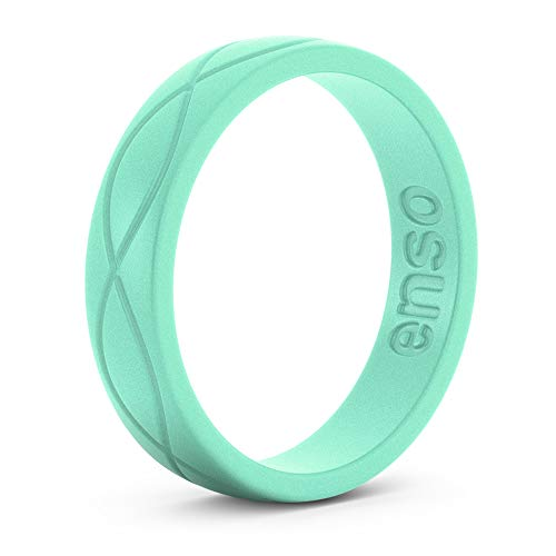 Enso Womens Infinity Silicone Ring Mint Green. Size: 6