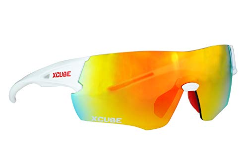 Sports Sunglasses With 2 Different Shapes Of Changeable Lenses Cycling Running Hiking Camping For Men Women (Gloss White)