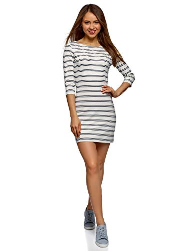 oodji Ultra Damen Baumwoll-Kleid Basic, Weiß, DE 38 / EU 40 / M