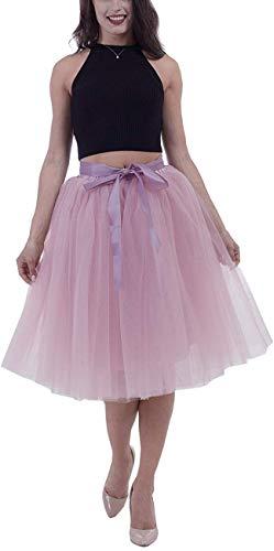Falda de tul para mujer, falda de tul de los años 50, elegante falda de tul con cinturón (varias capas) Rosa 3 Talla única