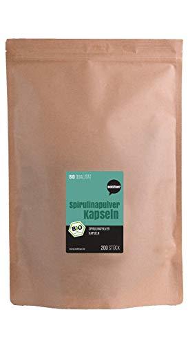 Weltuer Bio Spirulina capsules 200 stuks | rauwkost | 100% vegan | Bio Spirulina platensis poeder gemakkelijk te doseren