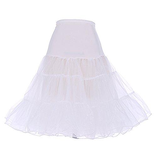 DRESSTELLS 1950 Petticoat Reifrock Unterrock Petticoat Underskirt Crinoline für Rockabilly Kleid Ivory L