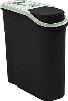 Rotho Filo Boîte de Stockage pour Aliments pour Animaux de Compagnie 6L avec Goulotte, Plastique (PP) sans BPA, Anthracite/Motif, 6L (28,0 x 12,0 x 28,0 cm)