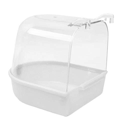 FLAMEER Vogel Badehaus aus Plastik, 12,6x14,8x13 cm - Weiß A