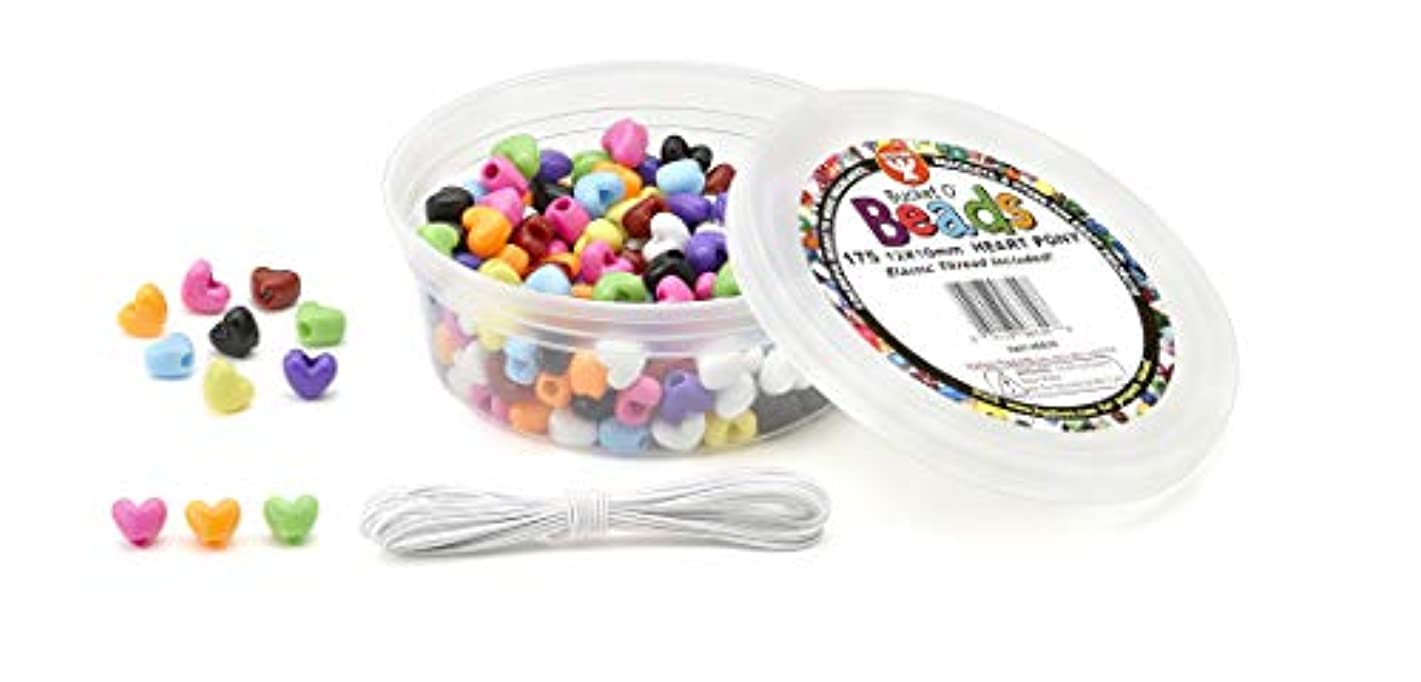 Hygloss Products Bucket O'Beads with Thread - 175 Piece Heart Pony, 12x10 mm (6829)