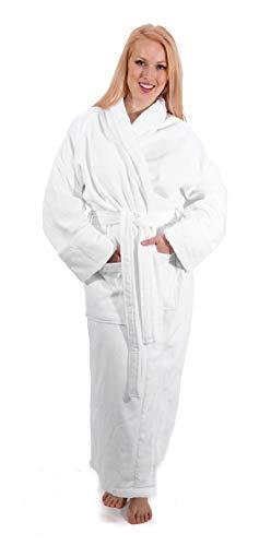 Classic Turkish Towel Velour Shawl Bathrobe - Plush Silky Soft Long Robe Made with 100% Turkish Cotton (White, Velour) One Size