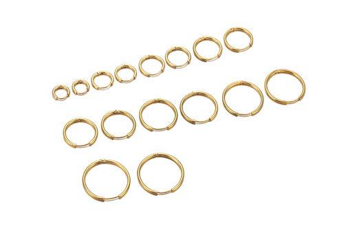 PiercingJak 8 Paare Chirurgenstahl Creolen Ohrringe Set Nasenring Ohr Helix Tragus Piercing Hinged Huggie Hoop Ring Klein Klappcreolen 6-20mm für Unisex (Gold)