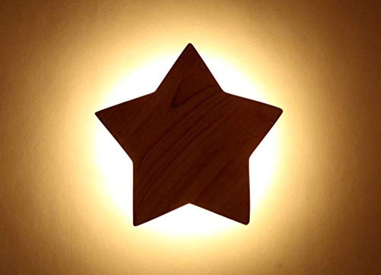 Chuen Lung LED Kinder-Holz-Pentagramm Schlafzimmer Wandleuchte Lampe Kreative Nachttischlampe Diameter 19CM Weies Licht