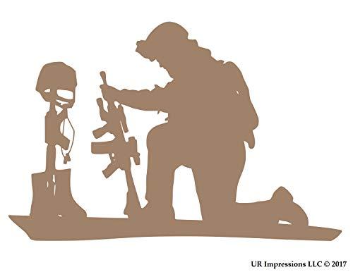 UR Impressions BTan 11.1in. Soldier Praying Over Battlefield Cross Decal Vinyl Sticker Graphics for Cars Trucks SUV Vans Walls Windows Laptop|Buckskin TAN|11.1 X 7.5 inch|URI694-BT