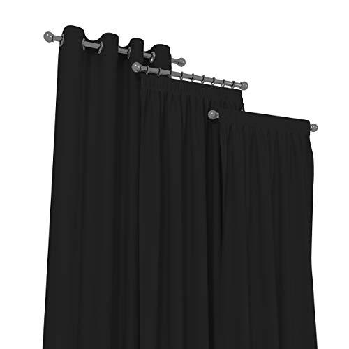 Market-Alley Vorhänge 2er Set Vorhang für Kinderzimmer Schlafzimmer Wohnzimmer Elegant Gardine mit Ösen/Taschenband/Kräuselband (124 Schwarz ; mit Kräuselband ; 135cm x 150cm)