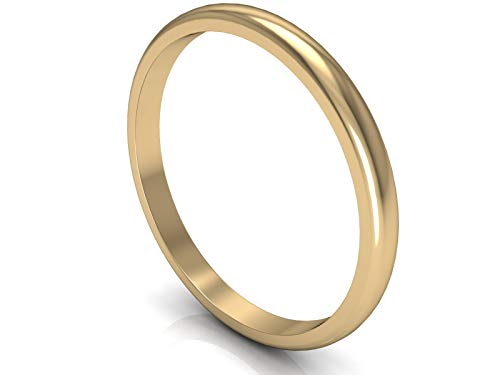 New Solid 375 9ct Yellow Gold 2mm Medium Dome D Shaped Unisex Wedding Ring Band Available in from G - Z+3 | UK Manufactured & Hallmarked