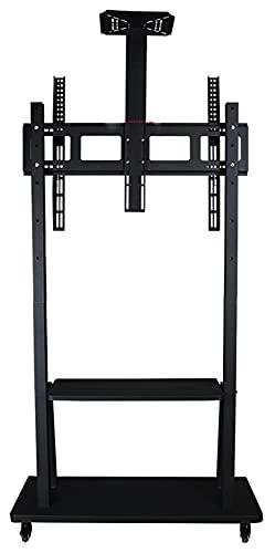 TabloKanvas Carrito de TV con ruedas de altura ajustable, adecuado para conferencias, enseñanza, soporte de TV con soportes (color negro)
