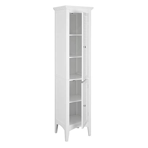 Elegant Home Fashions Glancy Linen Tower Freestanding Cabinet Tall Narrow Bathroom Kitchen Living Room Storage with 2 Shutter Doors 5 Tier Shelves, White