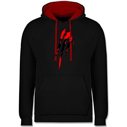 Shirtracer Länder - Albanien Krallenspuren - M - Schwarz/Rot - albanische - JH003 - Hoodie zweifarbig und Kapuzenpullover für Herren und Damen