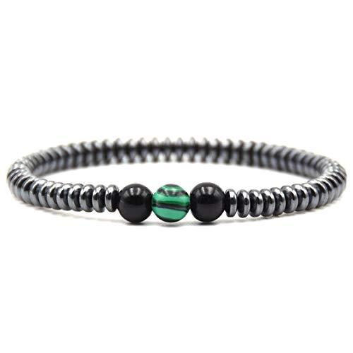 Natural Stone Bracelet Men Beads Bracelet DIY Jewelry Accessories Malachite ZB-01 Bracelet (Color : Malachite, Size : One Size)