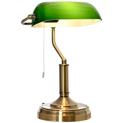 HOMCOM Lámpara de Mesa Tipo Banquero con Interruptor de Cuerda y Pantalla de Cristal Bombilla Requerida E27 de Máx. 25W Metal para Dormitorio Sala de Estar 27,5x17,5x39 cm Verde