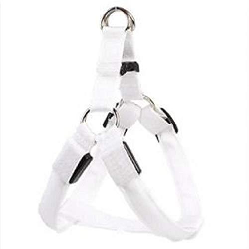 LoveOlvido Seguridad Nocturna LED Confort Suave y Transpirable Arnés para Perros Chaleco para Mascotas Cuerda Correa para el Pecho del Perro Conjunto de Correa Arnés para Cables - Blanco - M