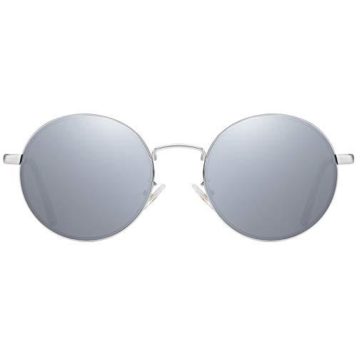 H HELMUT JUST Gafas De Sol para Hombre y Mujer Vintage Redondas Espejo Protección UV400 HJ1303