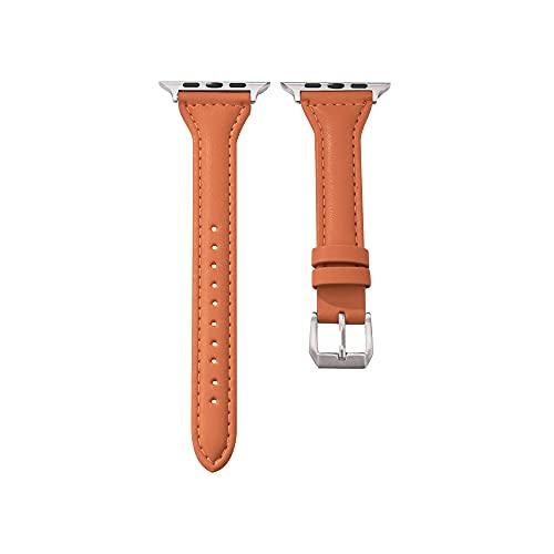 Hspcam Correa de reloj inteligente para Apple Watch Band 40 mm, 44 mm, 38 mm, 42 mm, Serie SE 654321, correa de piel para mujer (42 mm para series 123, naranja)