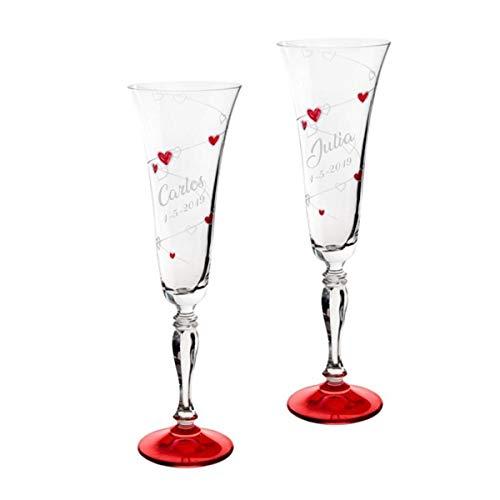 Copas para boda con corazones rojos, GRABADAS con el nombre de los novios y la fecha (Presentación en Baul)