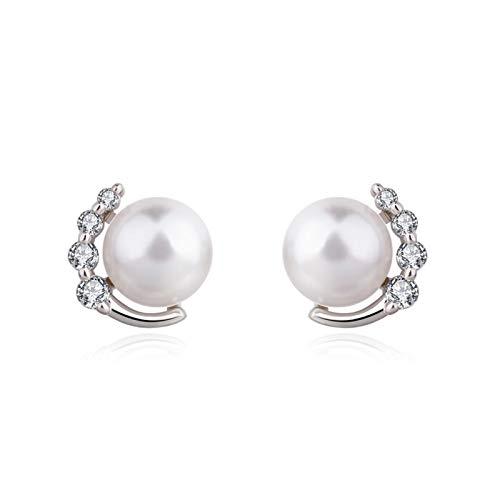 DOOLY Pendientes de Diamantes de Color Plateado 925 para Mujer Aros Mujer Orecchini Pearl Bizuteria Boda Piedra Preciosa Granate Pendiente de Tuerca joyería