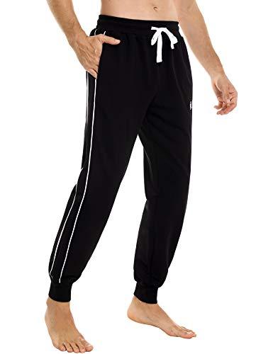 Sykooria Pantaloni Tuta Uomo Completa Cotone Tuta Uomo con Tasche Laterali Pantaloni Casual con Elastico e Coulisse Autunno e Inverno Sportivi Jogging Fitness Yoga - Nero L