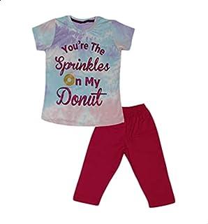 Jockey Printed Short-Sleeve Round-Neck T-shirt with Elastic-Waist Pants Pajama Set for Girls