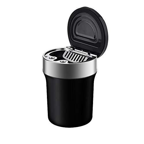 Hokyzam Auto Aschenbecher JX08 Multifunktions Mülleimer Edelstahl Organizer mit LED Anzeige Mini Kompassdeckel