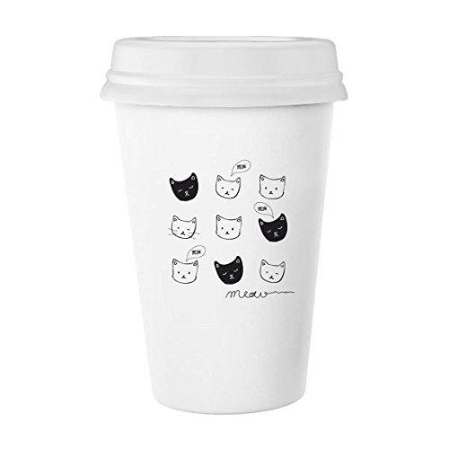Witte kat zwarte kat hoofd miauw eenvoudige lijn tekening klassieke mok wit aardewerk keramische beker melk koffie kopje cadeau 350 ml