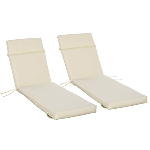 Outsunny Set of 2 Sun Lounger Cushion Non-Slip Seat Pads Garden Patio Reclining Chair for Indoor Outdoor, 196 x 55cm, Off-white