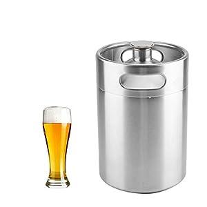Barril de Cerveza de Acero Inoxidable,Barril de Cerveza con Tapa en Espiral y Doble Asa para Casa, Hotel, Camping, Picnic (2L)
