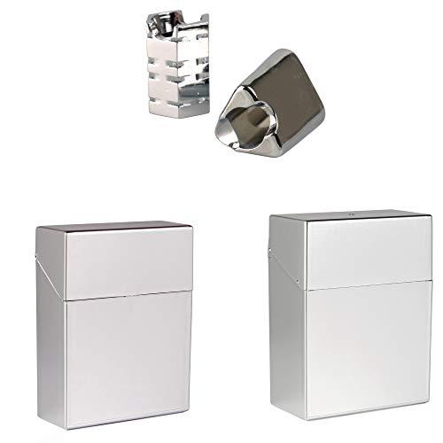 LK-Trend Zigarettenetuis 2 x Zigarettenbox XL 25 + XXL 30 in metallic Silber + 2 Glutkiller Chrom