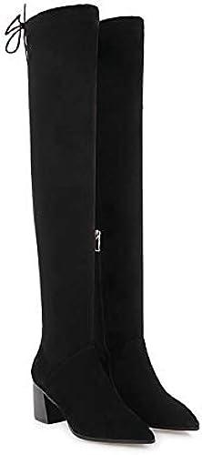 HOESCZS 2019 Femmes Au Genou Genou Haute Bottes De Mode Femmes Botte Plate-Forme d'hiver Chaussures Femmes Moto Bottes Grande Taille 34-43  économiser jusqu'à 70% de réduction