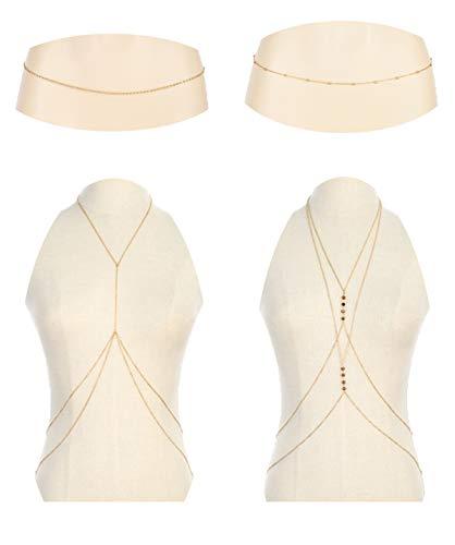 Ofeiyaa 4PCS Body Chain Jewelry Bra Chain Retro Waist Belt Chain Suit Bikini Beach Boho Chain Set for Women Girls Gold Tone