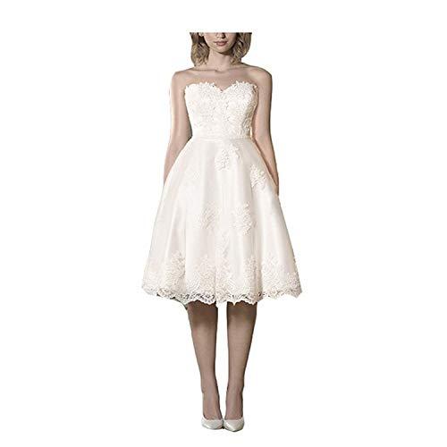 YASIOU Hochzeitskleid Kurz Standesamt A-Linie Tüll Tattoo Spitze Herzausschnitt Hochzeitskleid Damen Knielang Brautkleid Abendkleider