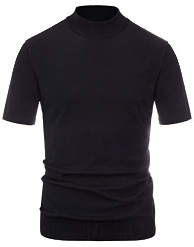 PJ PAUL JONES Men's Short Sleeves Mockneck Tee Pullover Sweater Mock Turtleneck Shirt Black, L