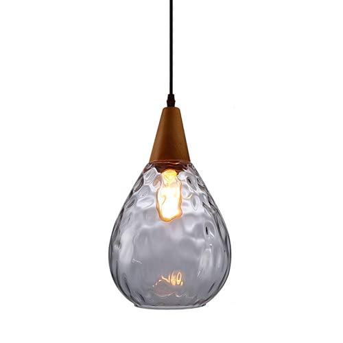 Decor Glass - Lámpara colgante de 1 luz, E27 lámpara de araña de cristal soplado de mano creativa luz de techo de madera para restaurante Bar Pub (transparente)