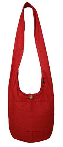 Lovely Creations's Thai Monk Buddha Cotton Sling Crossbody Messenger Bag Purse Hippie Hobo Shoulder Bag (NN Red)
