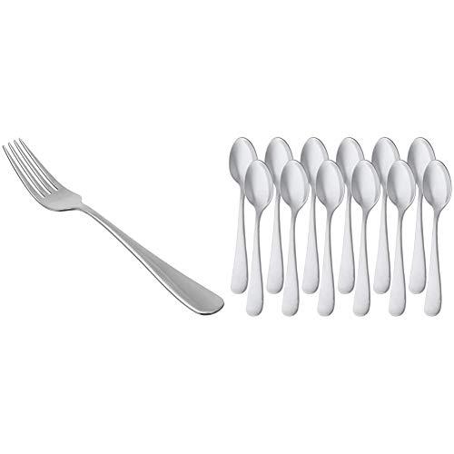 AmazonBasics - Juego de 12 cucharillas de café de acero inoxidable con borde redondeado + Tenedores de mesa de acero inoxidable, con punta redonda, juego de 12