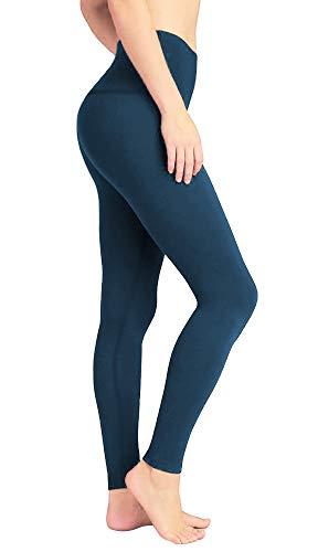 DeepTwist Yoga Hose für Damen Hohe Taille - Bauch Kontrolle Workout Running Hosen Fitness Knöchel Full-Length Leggings mit Breiten Bund, UK-DT4005-Teal-M