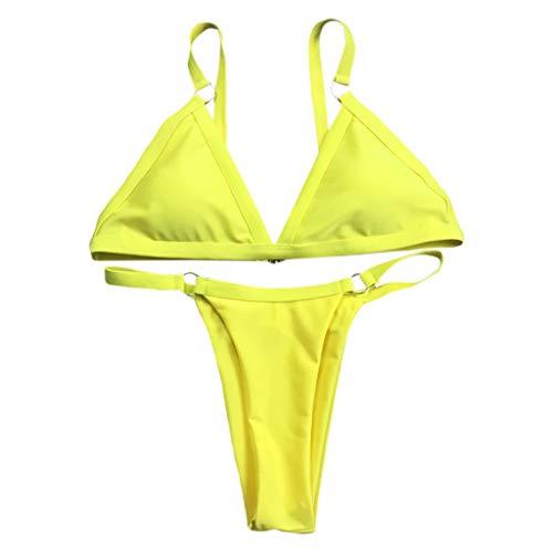 KunmniZ 1 Set Frauen Dame Bikini badeuit Suspender BH dreieck Unterhose sexy Swimwear Beach Party umweltfreundliche Schwimmen Anzug Mode einfache Push-up gepolsterte trendy Halter Ring
