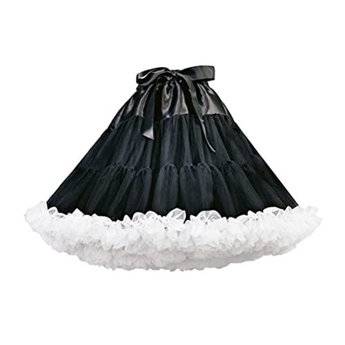 PRETYZOOM Enaguas Suaves Y Hinchadas Faldas Tutú Párr Mujer Traje de Ballet Faldas de Tul Faldas de Múltiples Capas Negras Lolita para Vestidos Vintage