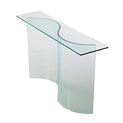 Qriosa Stile Italiano Modelo: Consola de entrada moderna de cristal curvado - 120 x 30 x 72 cm - Fabricada en Italia