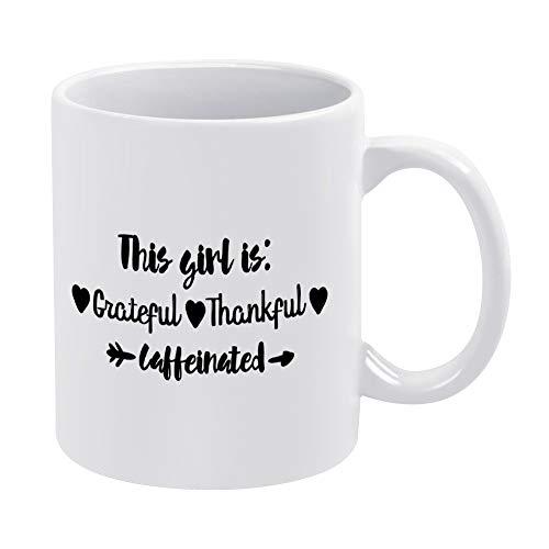 Dit meisje is dankbaar dankbaar bedankt cafeïnevrije grappige koffie mok witte Thanksgiving boerderij nieuwigheid keramische thee cup kantoor mok kerst verjaardag Housewarming cadeau voor mannen vrouwen