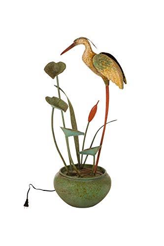 Glitzhome 37' H Floor Standing Water Fountains - Antique Green Metal Pelican Tiered Waterfall Decorative Garden Outdoor/Indoor Tool