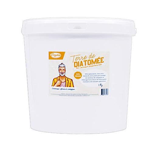 VOZYDEO Terre de Diatomée Blanche 5Kg Non calcinée/ Alimentaire E551 -100% Naturelle- Garantie sans additifs Idéale contre les puces, tiques, poux rouges, punaises de lit, etc...