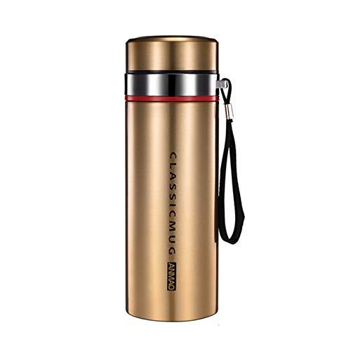 JSJJWSX Termo de acero inoxidable doble termo de acero inoxidable con filtro portátil aislado al vacío, botella de agua (capacidad: 600 ml, color: dorado)