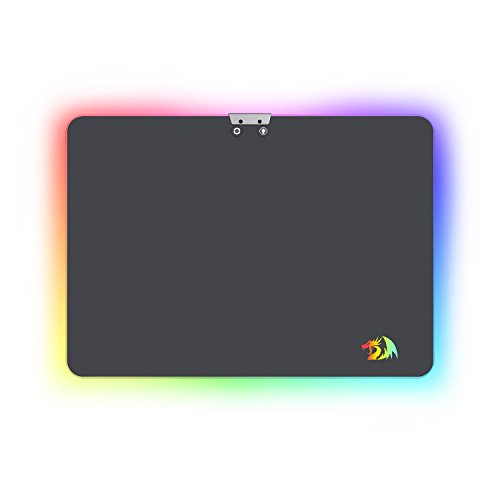 Redragon P010 Gaming Mouse Pad, RGB LED Lighting Effects, Wired, Hard Non-Slip Rubber Low Friction Surface Mouse Mat for MMO Computer Windows PC Gamers (13.8 x 9.8 Inch)