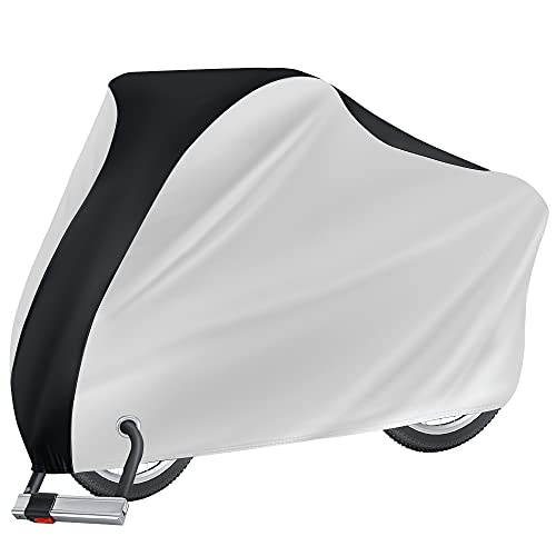 Puroma Bike Cover Outdoor Waterproof Bicycle Covers Rain Sun UV Dust Wind Proof with Lock Hole for Mountain Road Electric Bike, XL (Black&Silver)