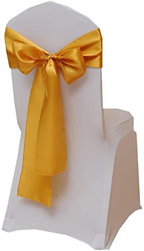 Namvo 25 fundas de silla de satén elástico con lazo, decoración para bodas, fiestas, hogar (amarillo dorado)